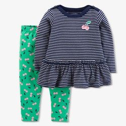 Baby Girls' Cherries 2pc Pants Set - Just One You™ Made by Carter's® Navy/Green