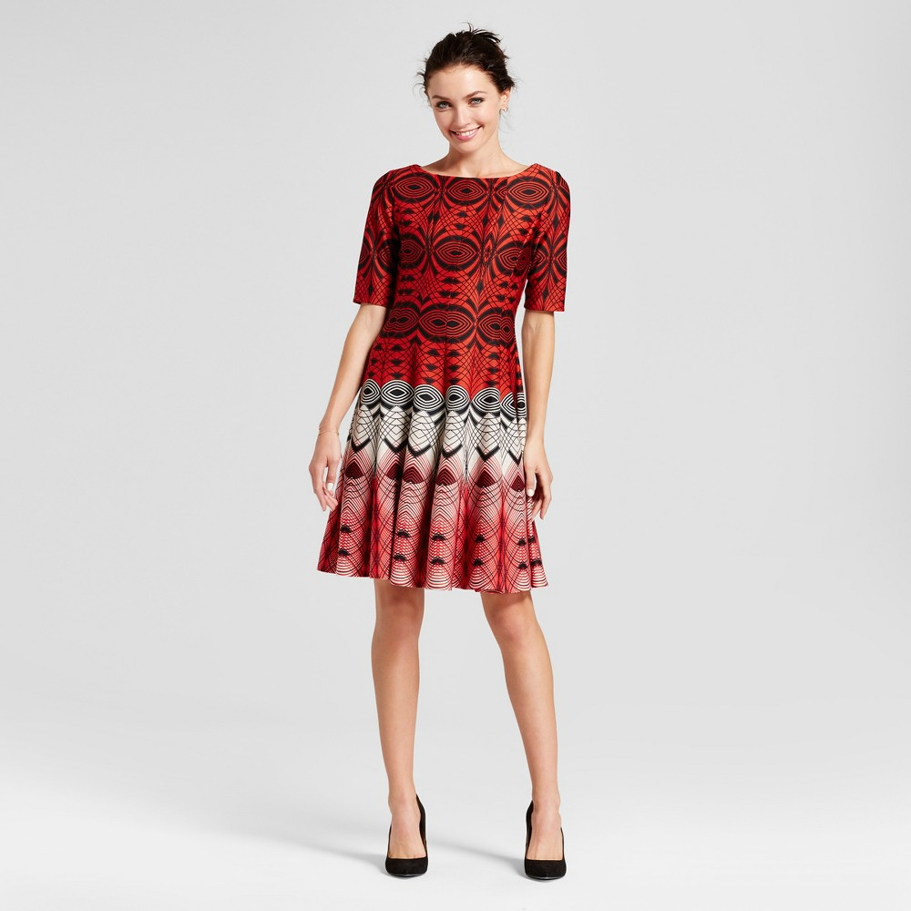 Womens Printed Elbow Sleeve Fit and Flare Dress - Melonie T Red Combo 6