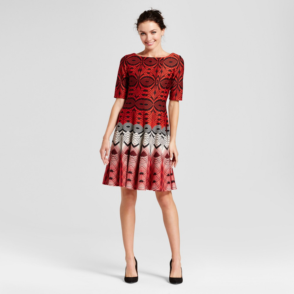 Womens Printed Elbow Sleeve Fit and Flare Dress - Melonie T Red Combo 8