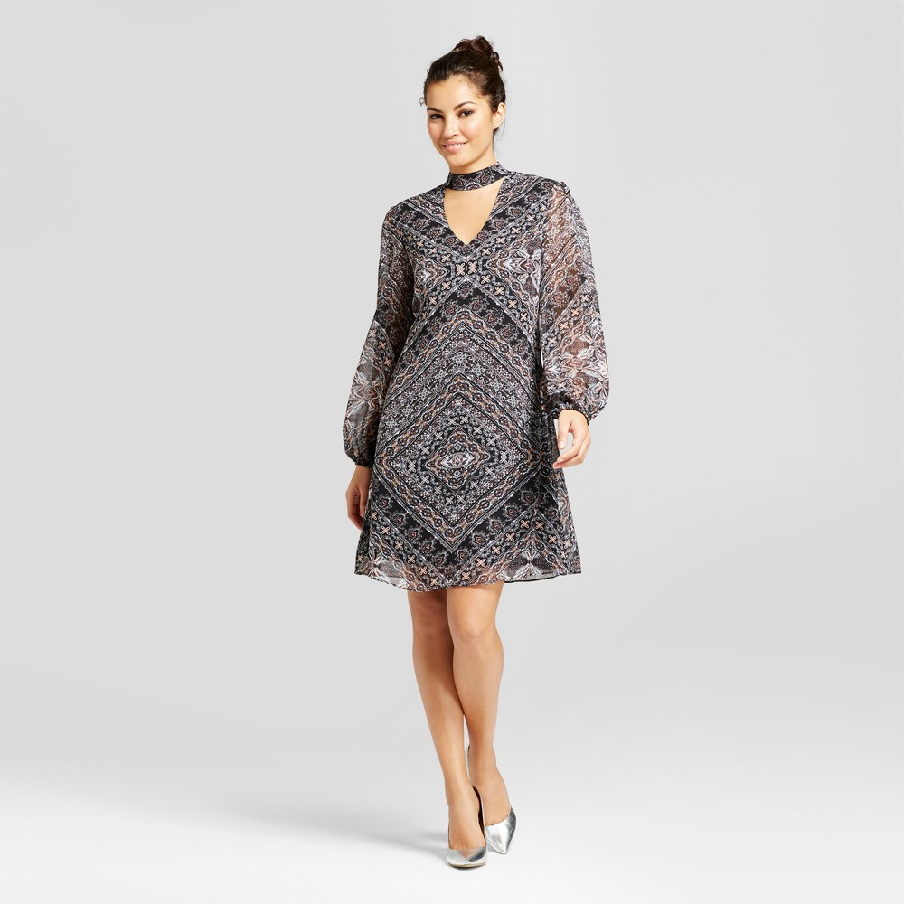 Womens Printed V-Neck Dress with Choker Detail - Chiasso Stone Combo 12, Gray