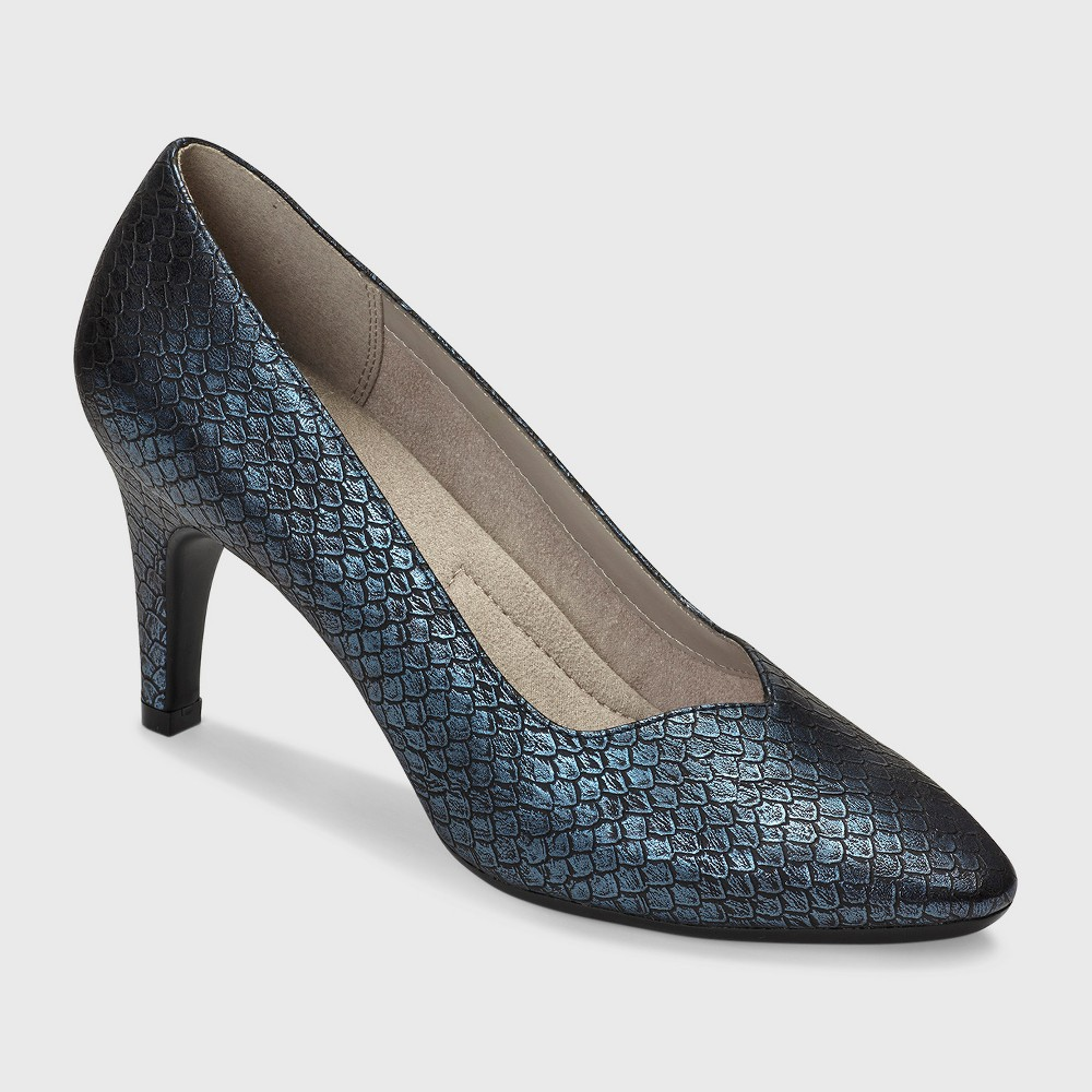 Womens A2 by Aerosoles Expert Snake Print Pumps - Blue 8.5