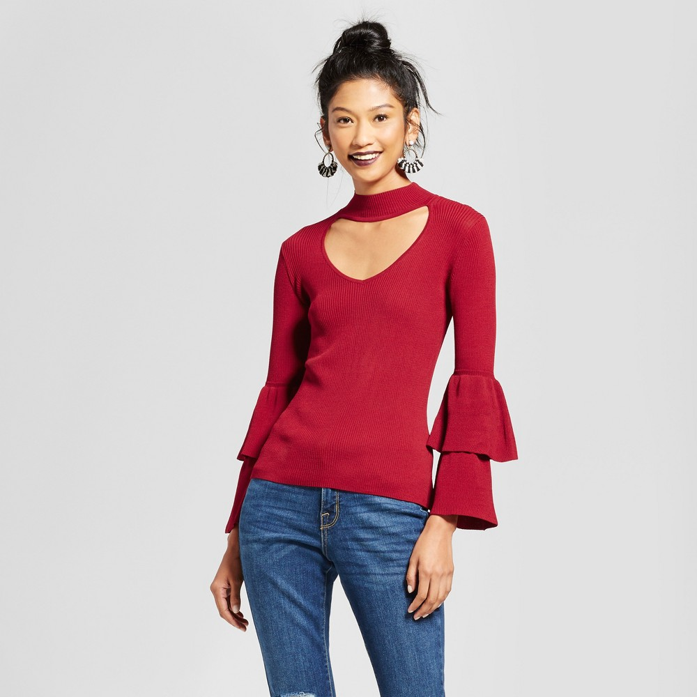 Womens Mock Neck Cut Out Ruffle Sleeve Lightweight Sweater - Xoxo (Juniors) Red S
