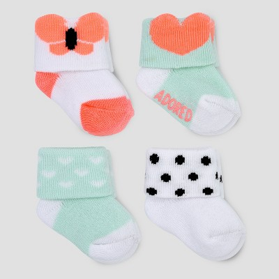 Baby Girls' 4pk Bug/Heart Terry Cuff Socks - Just One You® made by carter's Pink/Mint 0-3M