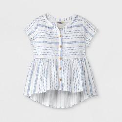 Genuine Kids™ from OshKosh® Toddler Girls' Cap Sleeve Stripe Blouse - Almond Cream