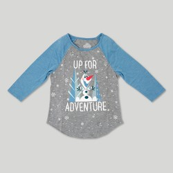 Girls' Olaf 'Up for Adventure' 3/4 Sleeve Raglan Graphic T-Shirt - Heather Blue/Gray