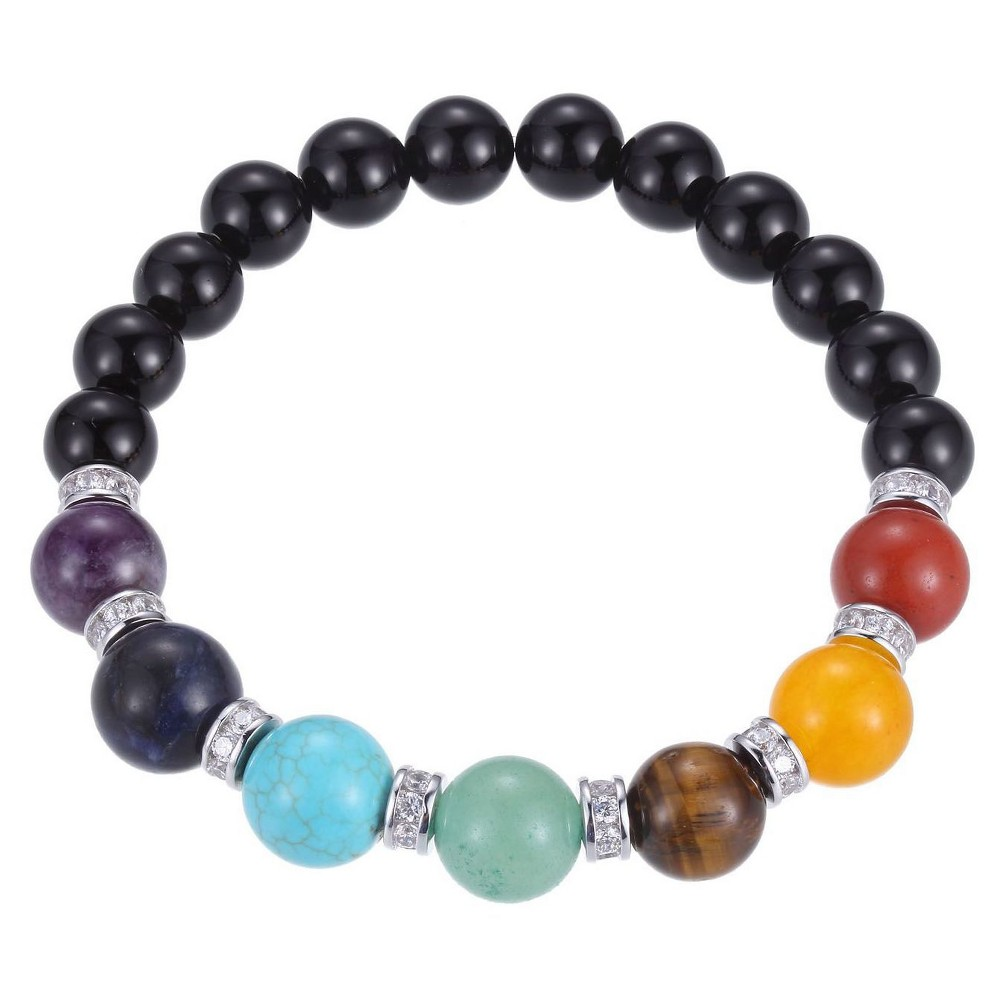 Genuine Chakra Gemstones with Fine Silver Plated Bronze and Cubic Zirconia Beaded Stretch Bracelet - 6.5, Womens, Black