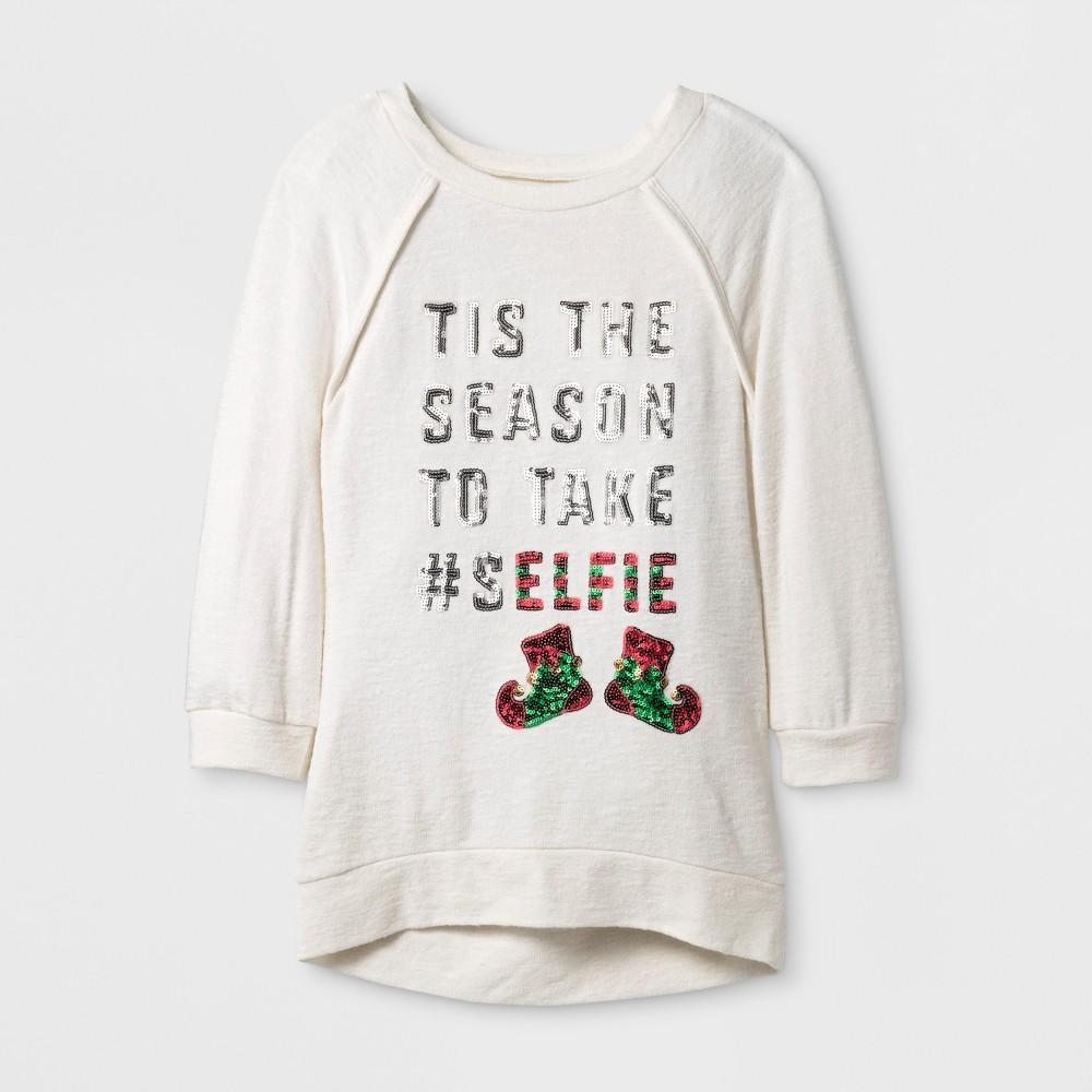 Girls Miss Chievous 3/4 Sleeve Sweatshirt - White S