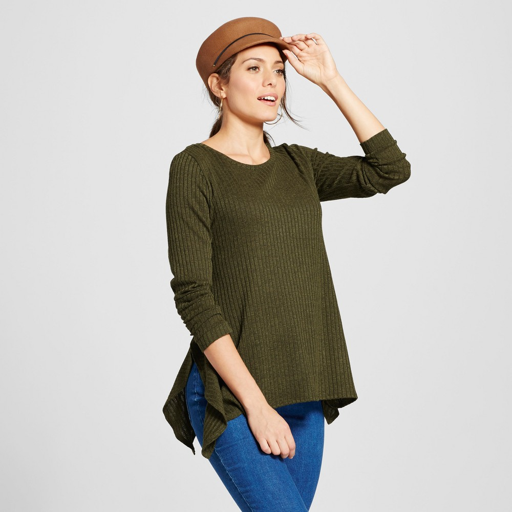 Women's Long Sleeve Side Ruffle Ribbed Knit Pullover - Notations Green XS