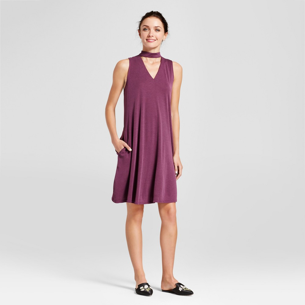 Womens Sleeveless Choker Neck Shift Dress - Zac & Rachel Prune 10, Purple