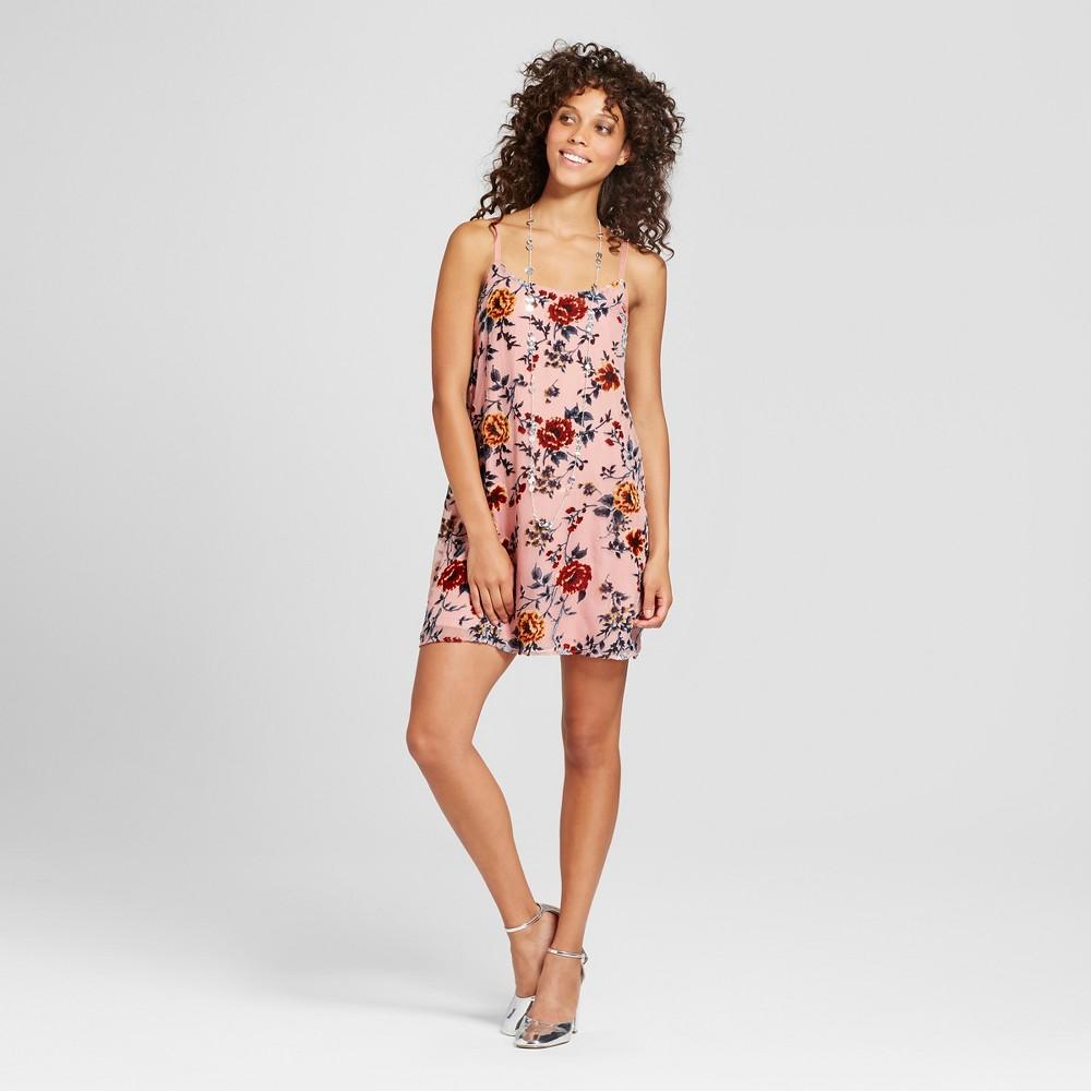 Womens Floral Velvet Burnout Slip Dress - Lily Star (Juniors) Mauve S, Purple