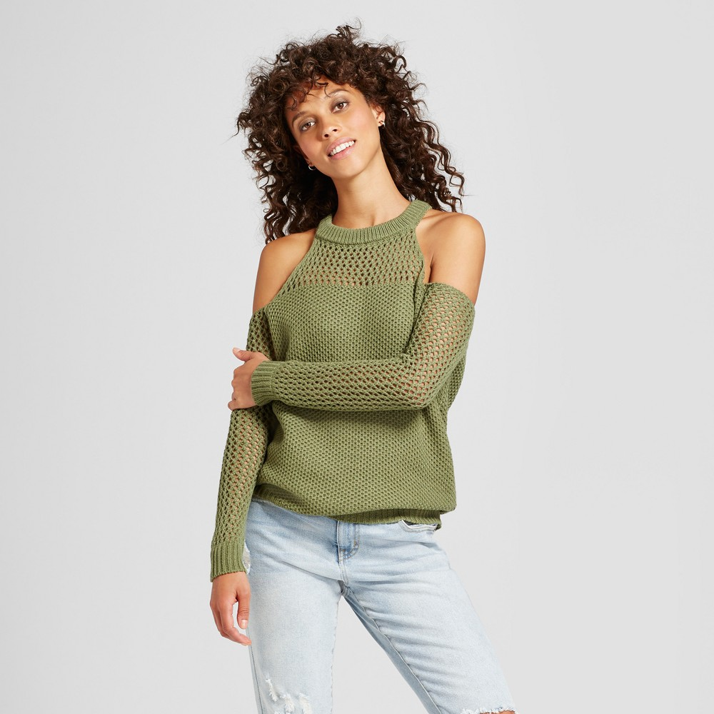 Womens Cold Shoulder Open Knit Sweater - Love @ First Sight (Juniors) Olive M, Green