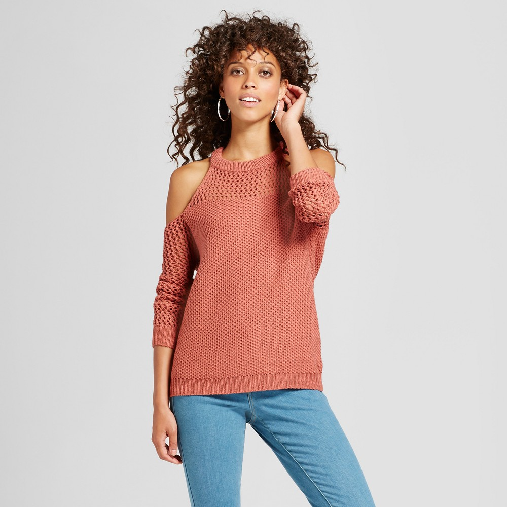 Womens Cold Shoulder Open Knit Sweater - Love @ First Sight (Juniors) Rose L, Red