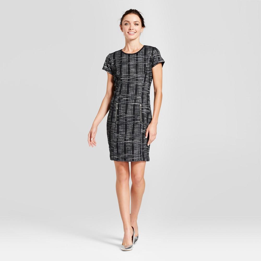 Womens Short Sleeve Boucle Sheath Dress - Zac & Rachel Black/Ivory 8, Multicolored