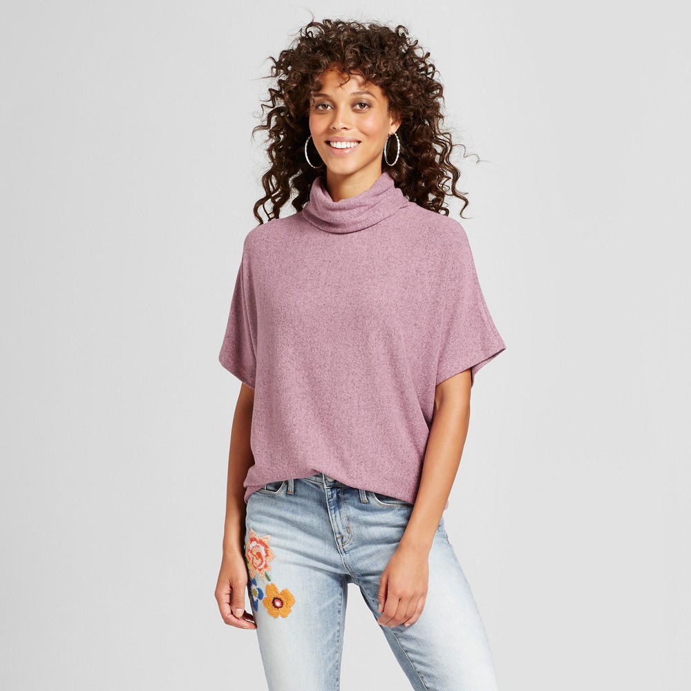 Womens Brushed Cowl Neck Pullover - Love @ First Sight (Juniors) Blush XL, Pink