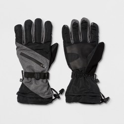 Men's Pieced Ski Glove With Stitching And Zipper Pocket - C9 Champion® Black