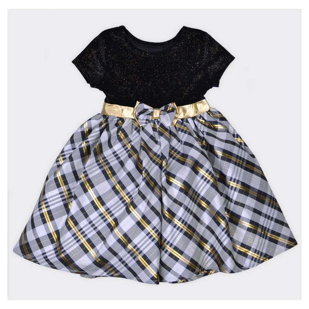 Toddler Girls A Line Dress Young Hearts - Black 4T