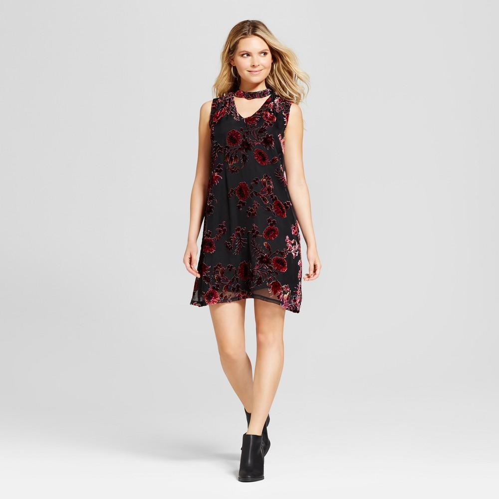 Womens Burnout Velvet Choker Neck Dress - Lux II Black/Wine 16