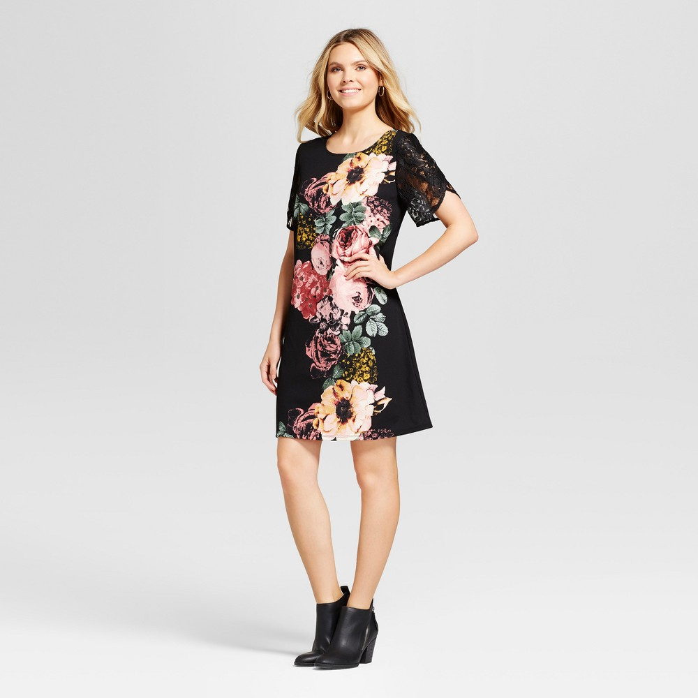 Womens Floral Printed Shift Dress with Lace Detail - Lux II Black Combo L