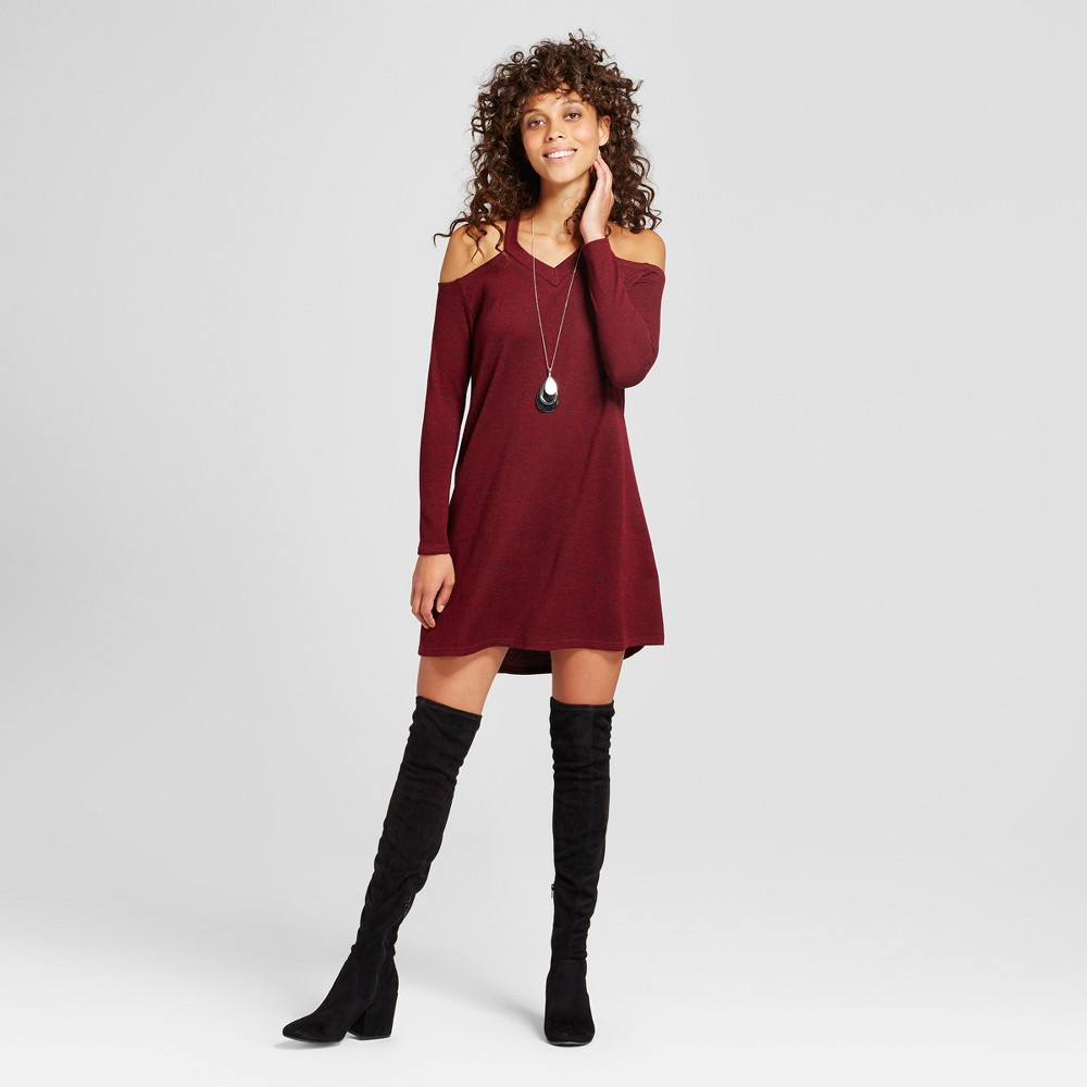 Womens Cold Shoulder Brushed Hacci Dress - Love @ First Sight (Juniors) Burgundy L, Red