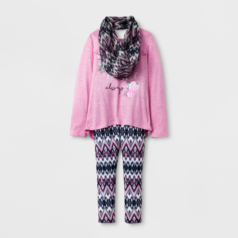 Self Esteem Girls Long Sleeve Scarf Top - Pink L