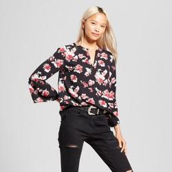 Women's Floral Bell Sleeve Blouse - Éclair Black