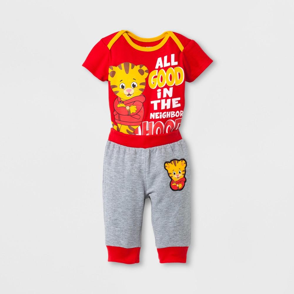 Baby Boys Daniel Tigers Neighborhood Top and Bottom Set - Red 6 M