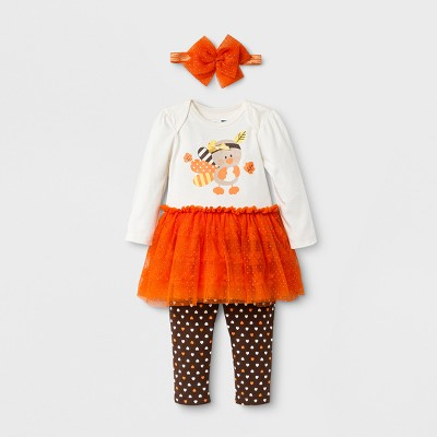 Baby Girls' 3pc Turkey Bodysuit & Leggings Set - Orange 9M