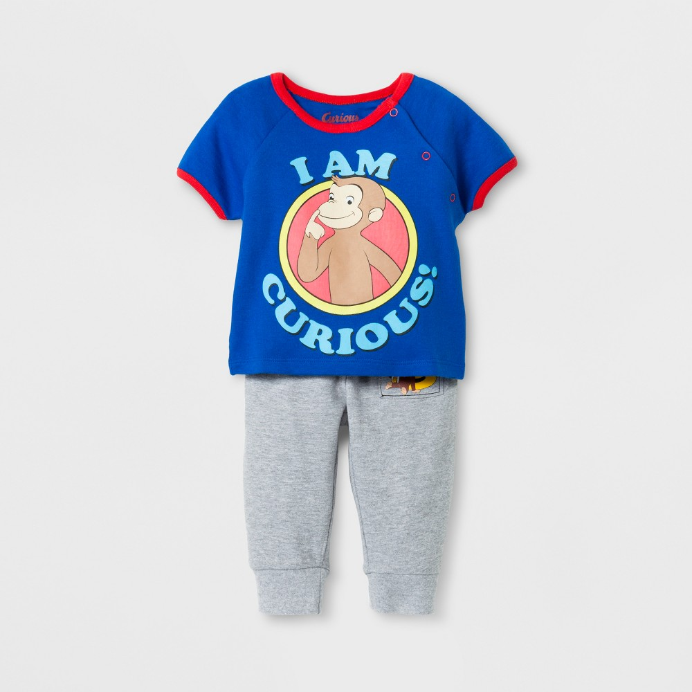 Baby Boys Curious George Top and Bottom Set - Navy 12 M, Size: 12M, Blue
