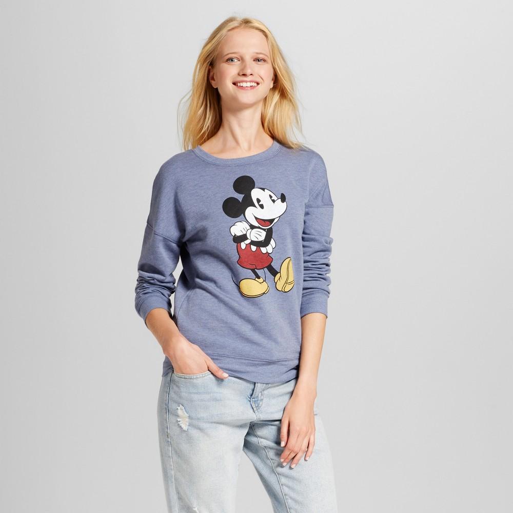 Women's Disney Mickey Mouse Long Sleeve Graphic Sweatshirt (Juniors') - Navy S, Blue