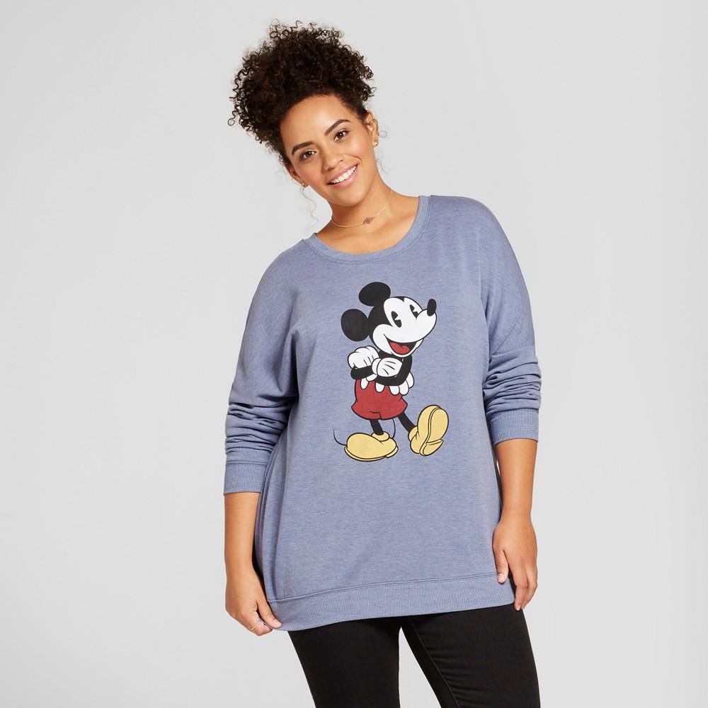 Women's Plus Size Disney Mickey Mouse Long Sleeve Graphic Sweatshirt (Juniors') - Navy 2X, Blue