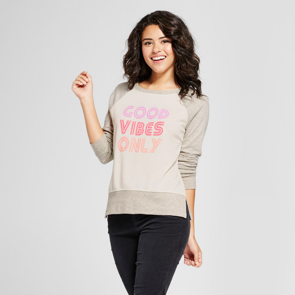 Womens Good Vibes Only Graphic Sweatshirt - Grayson Threads (Juniors) Cream S, Beige