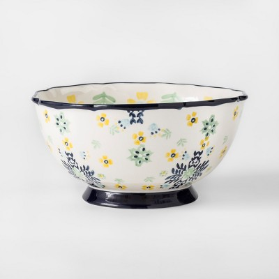 Glazed Stoneware Serving Bowl 96oz Yellow/Green Floral - Threshold™