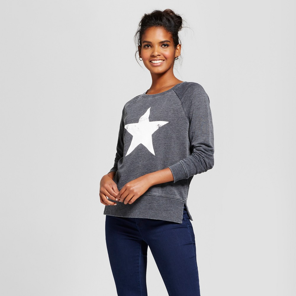 Womens Star Graphic Sweatshirt - Grayson Threads (Juniors) Charcoal M, Gray
