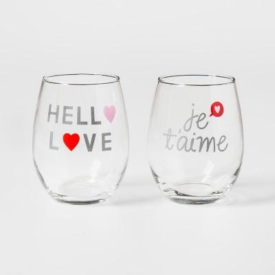 Hello Love & Jet'aime 2pc Stemless Wine Glasses - Threshold™