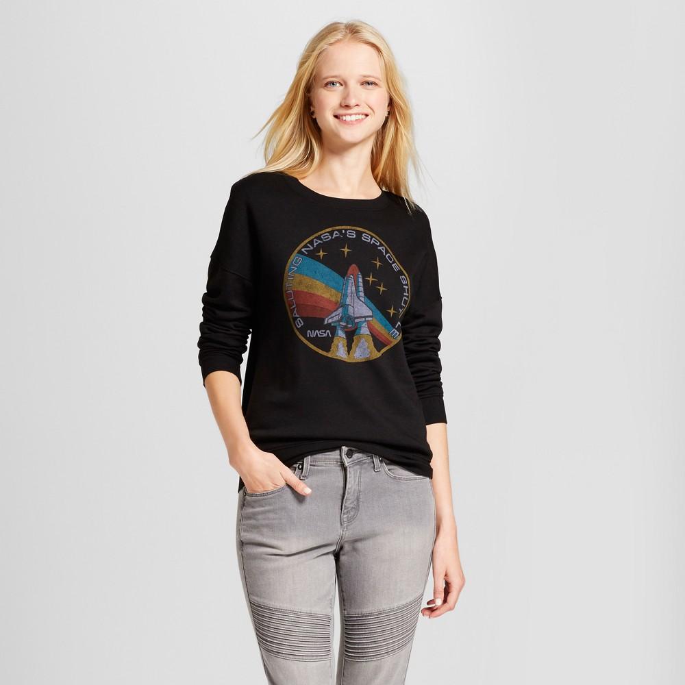 Women's Nasa Space Shuttle Graphic Sweatshirt - Zoe+Liv (Juniors') Black L