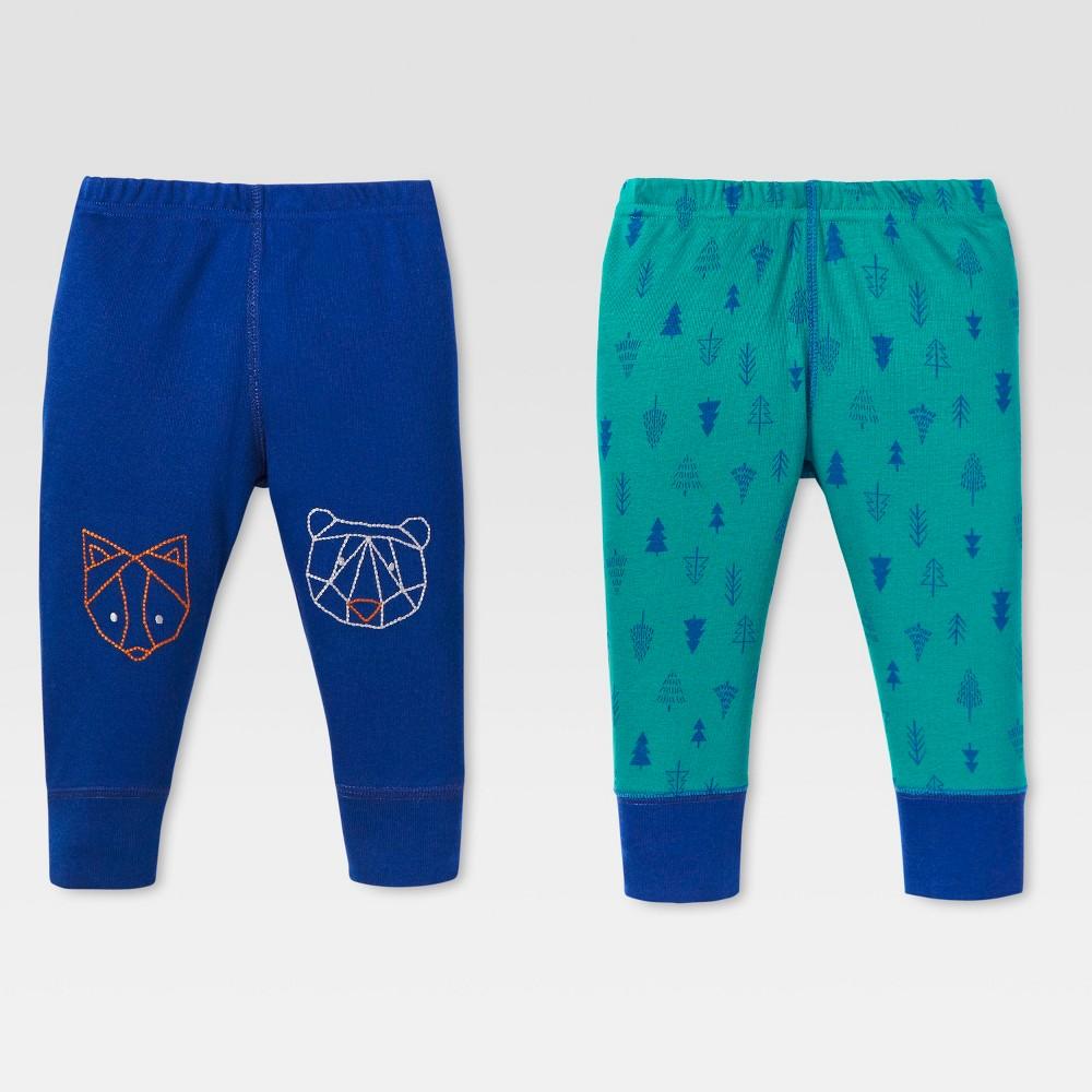 Lamaze Baby Boys Organic Animal Knee Patch 2pk Pants Set - Blue 3M