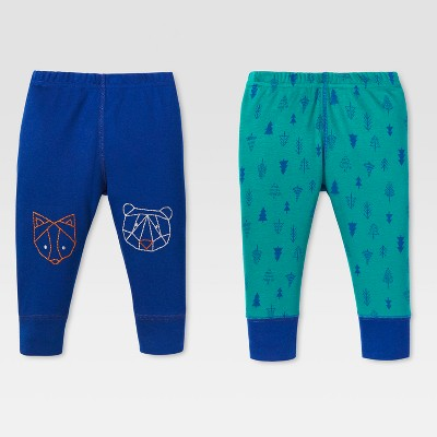 Lamaze Baby Boys' Organic Animal Knee Patch 2pk Pants Set - Blue 18M