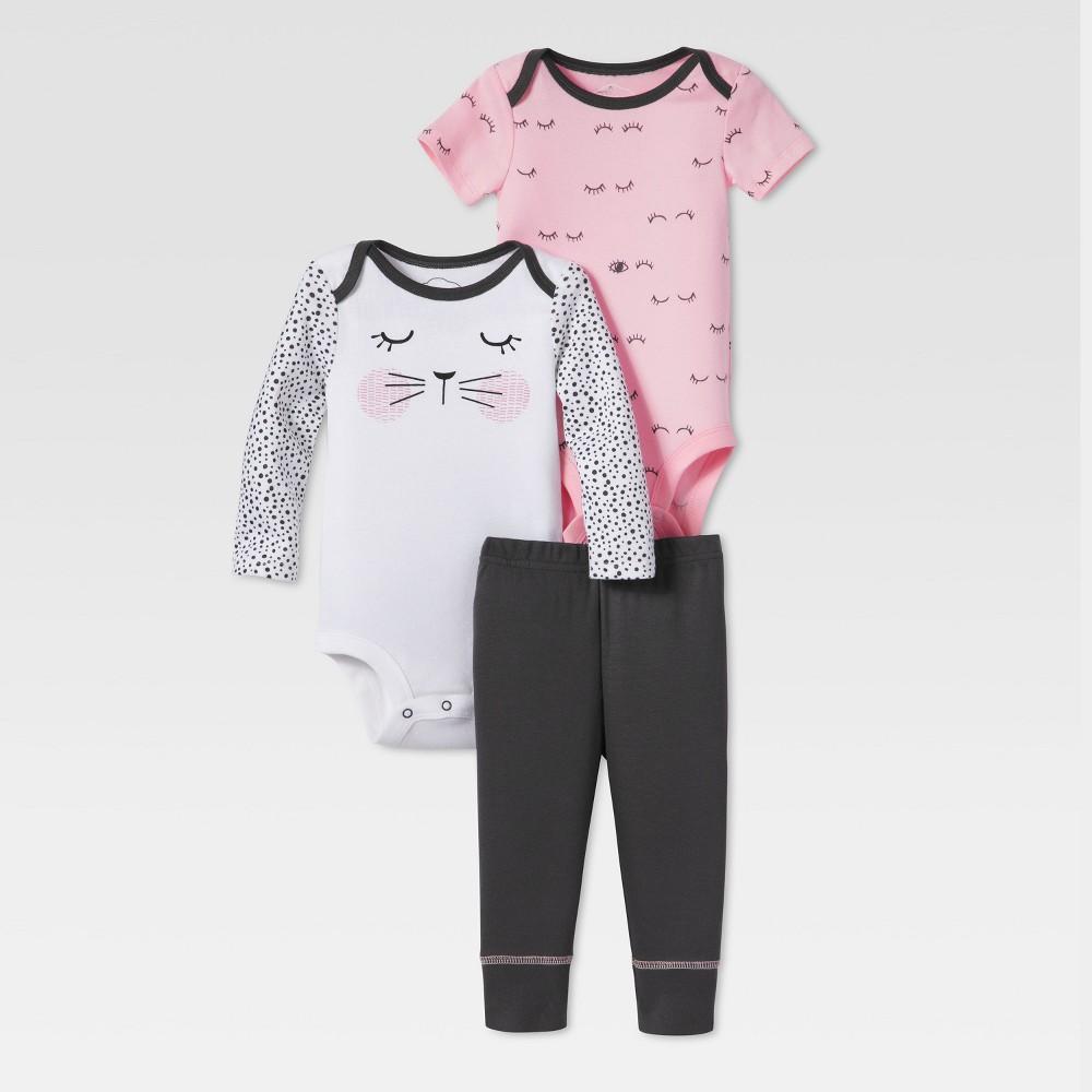Lamaze Baby Girls Organic Kitty Sleeping 3pc Bodysuit Pants Set - Pink NB