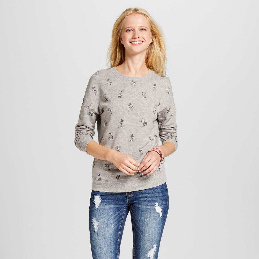 Women's Disney Mickey Mouse All Over Graphic Sweatshirt (Juniors') - Gray S