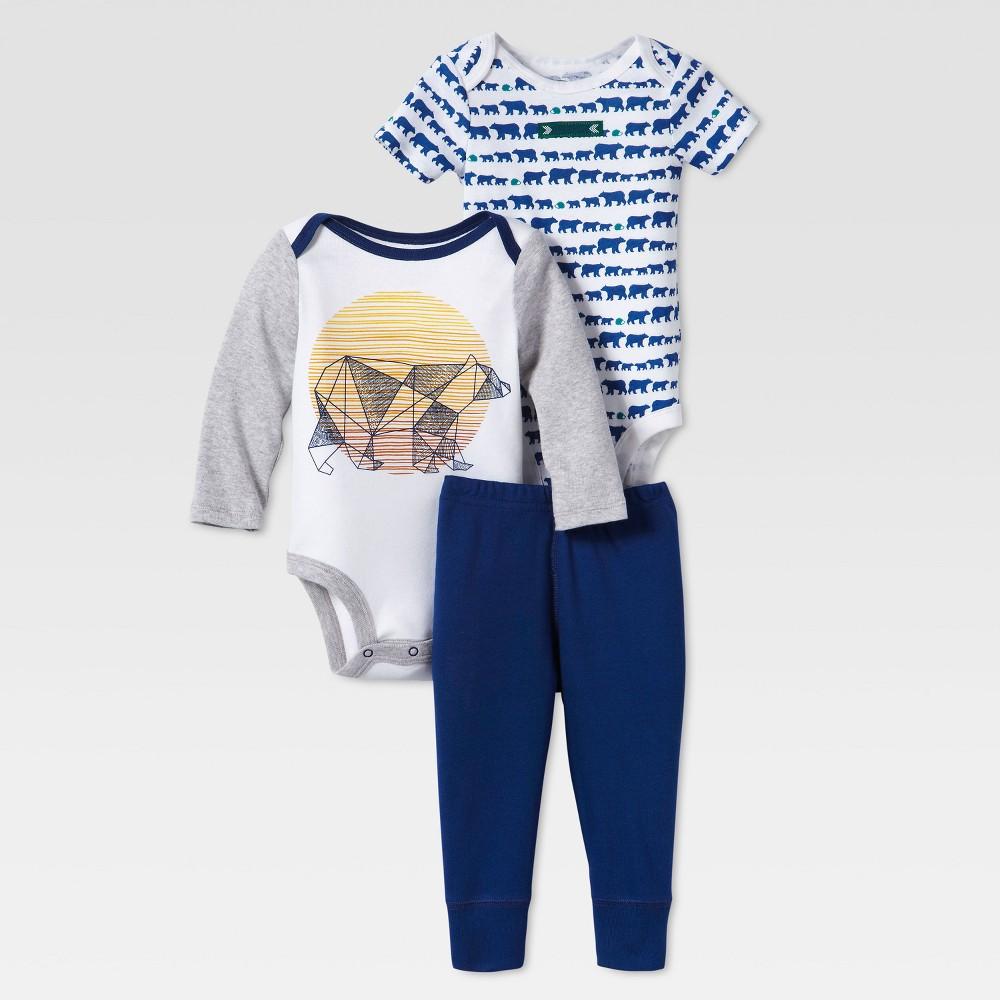 Lamaze Baby Boys Organic Bear Print 3pc Bodysuit & Pants Set - White 6M