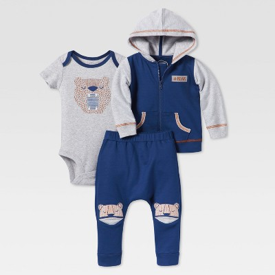 Lamaze Baby Boys' Organic Bear Roar 3pc Hoodie Set - Blue 9M