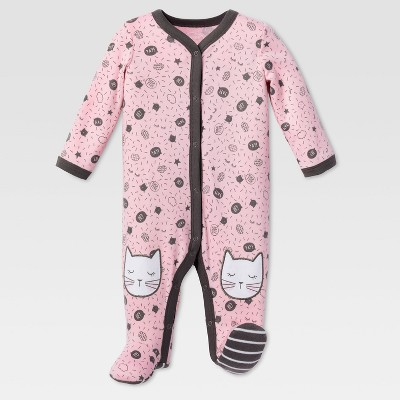 Lamaze Baby Girls' Organic Kitty Knee Sleep N Play - Pink 6M