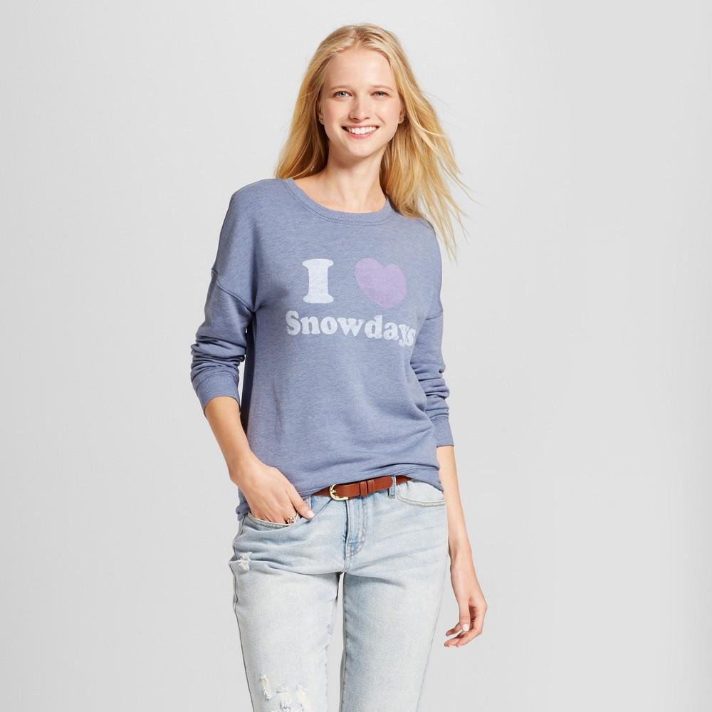 Women's I Heart Snowdays Long Sleeve Graphic Sweatshirt - Zoe+Liv (Juniors') Blue L