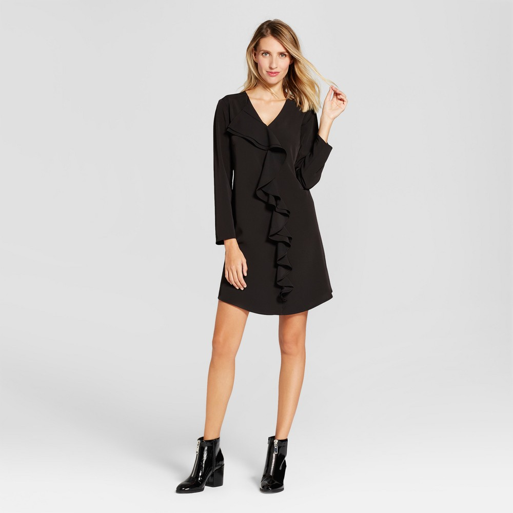 Womens Ruffle Front V-Neck Sheath Dress - Spenser Jeremy Black 10