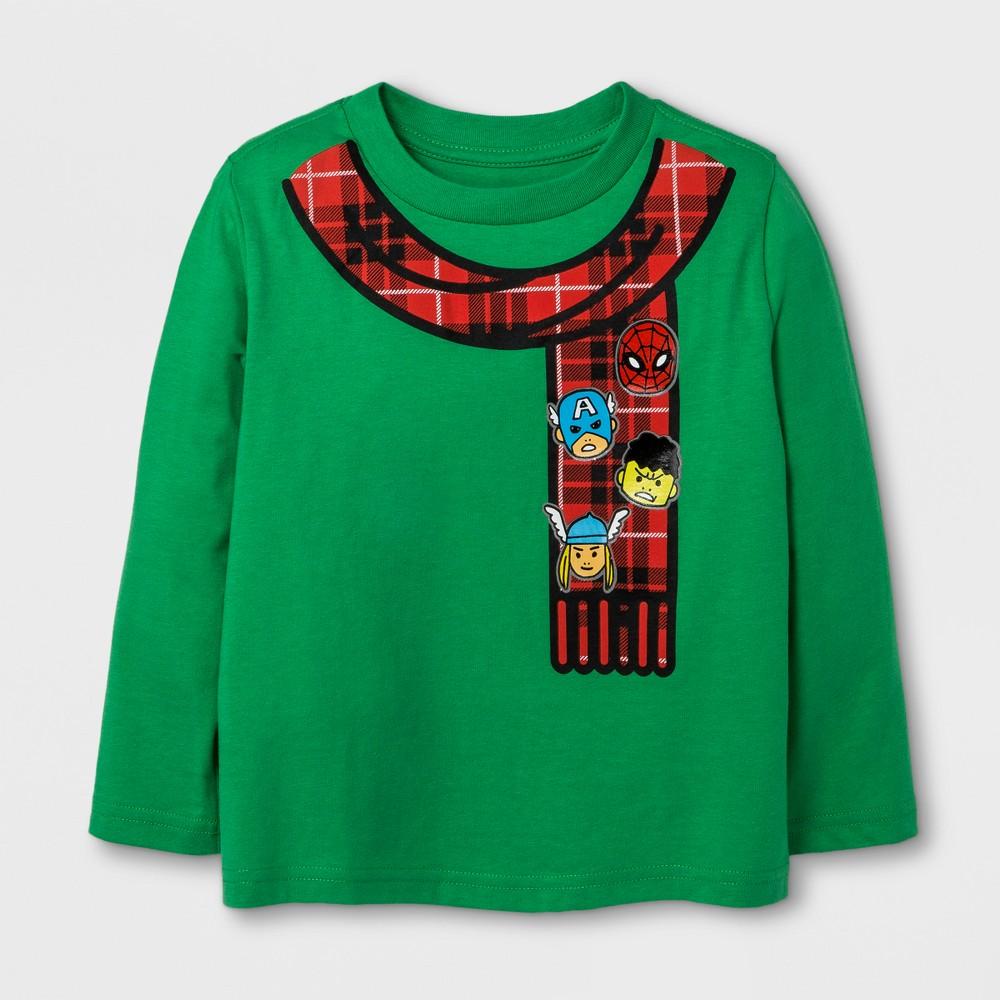 Marvel Toddler Boys' Avergers Christmas Long Sleeve T-Shirt - Kelly Green 5T