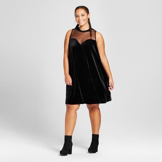 women's plus size illusion neckline velvet trapeze dress - 3hearts
