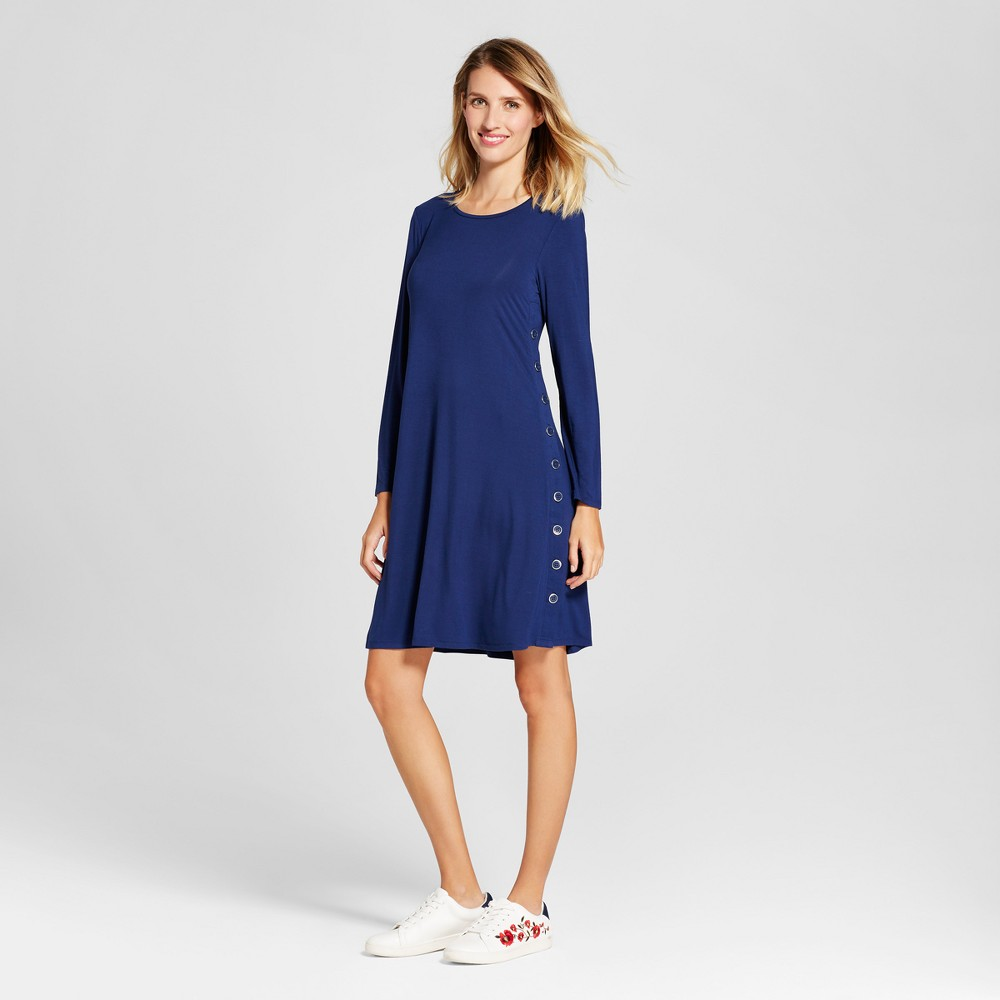 Womens Long Sleeve Knit Dress with Side Button Detail - Spenser Jeremy Blue L