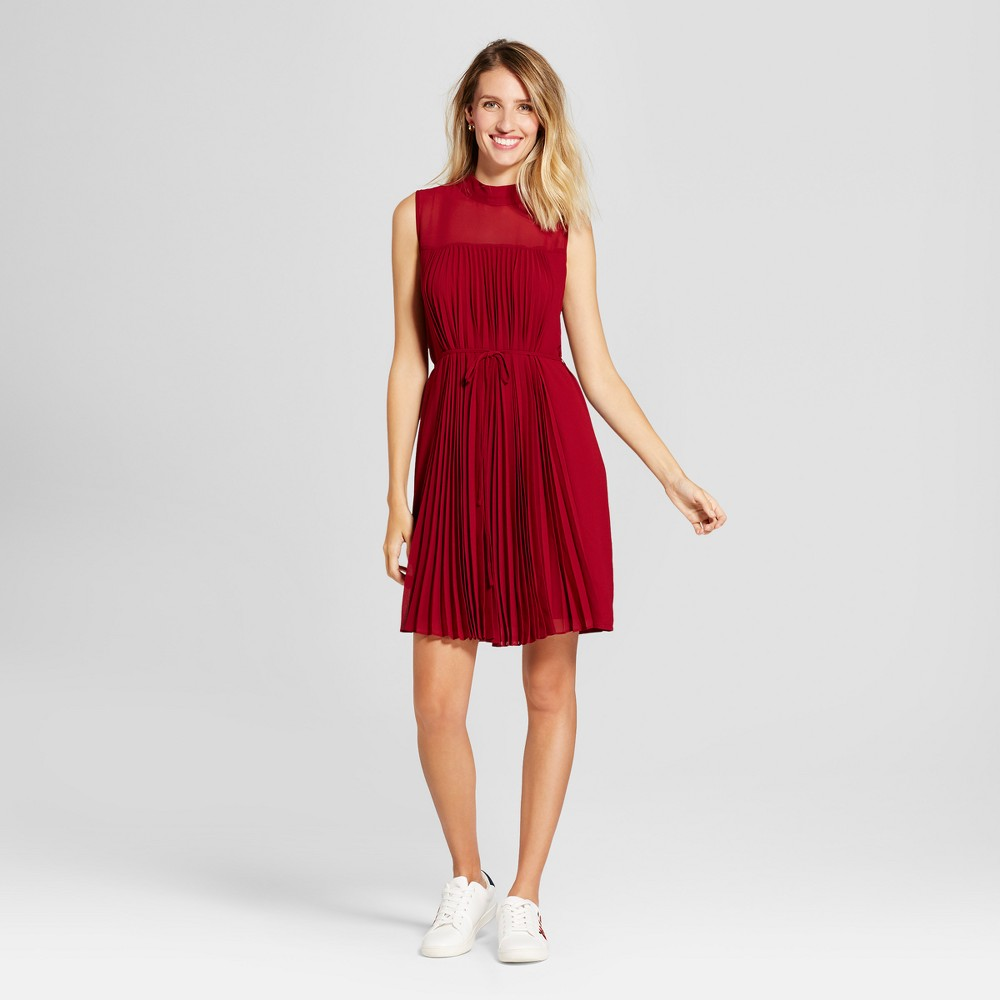 Womens Pleated Chiffon Extended Shoulder Dress - Spenser Jeremy Red 8