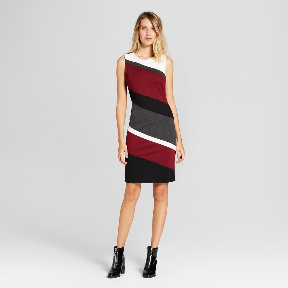 Womens Ponte Colorblocked Tank Dress - Spenser Jeremy Black/Rosewood 10, Black Red