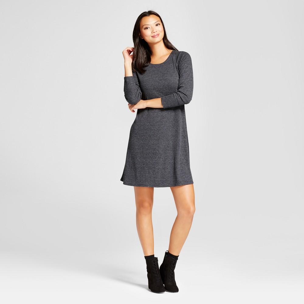 Womens Ribbed Knit 3/4 Sleeve Dress - Spenser Jeremy Heather Gray XL
